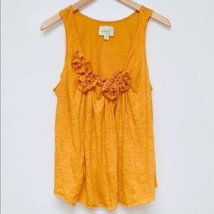 ANTHROPOLOGIE DELETTA Mustard Yellow Flower Cotton